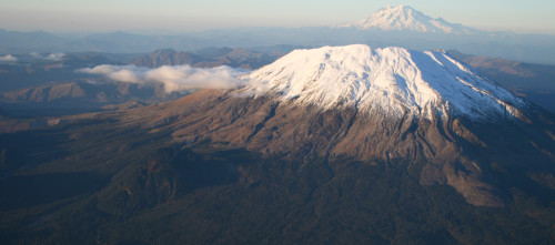Mt. St. Helens with Mt. Rainier in the Background