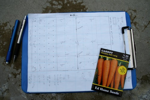layout for my second bed on graph paper with pencil, eraser and carrot seed packet
