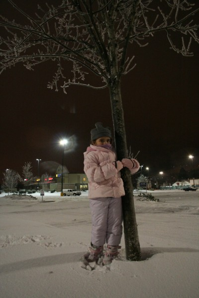 Allie Hugging a Tree in the Snow