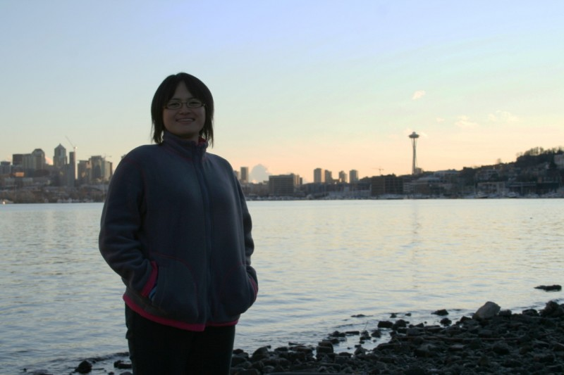 Kanako with Lake Union and Downtown Seattle in the Background