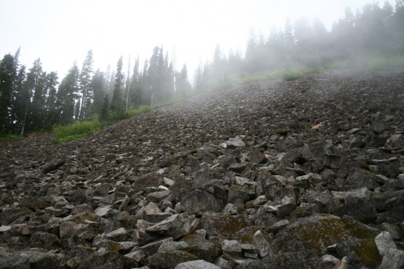 Large rockslide on the south west side of Shellrock Lake