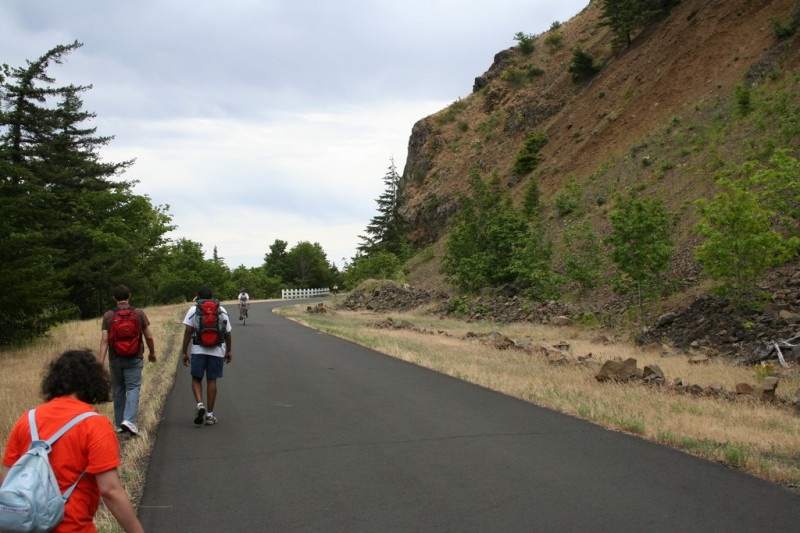 Josh, Sam and Amy and a Bicyclist on the Trail
