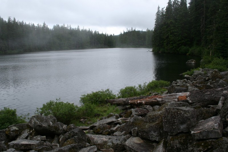 View of Shellrock Lake from the far end of the rockslide