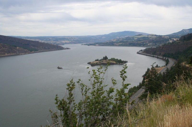 View of the Columbia River Looking West with a Small Island