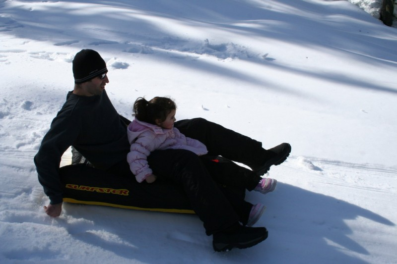 Shaun and Allie on One of the Slow Sleds
