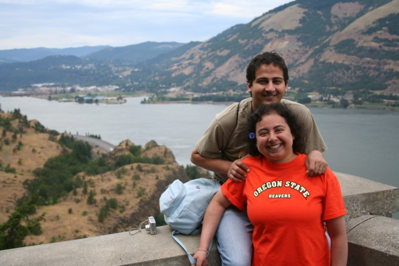 Amy and Sameh in Front of The Columbia River