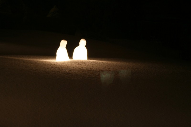The Manger Scene in the Snow from the Porch