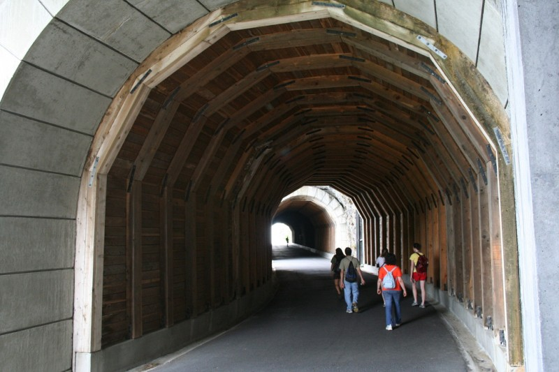 The Group Walking Into The First Tunnel