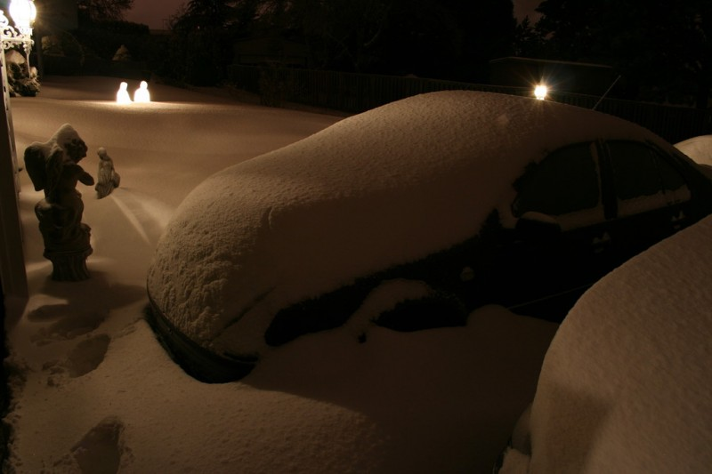 My Snow Covered Jetta, Statues, Lights and the Manger Scene