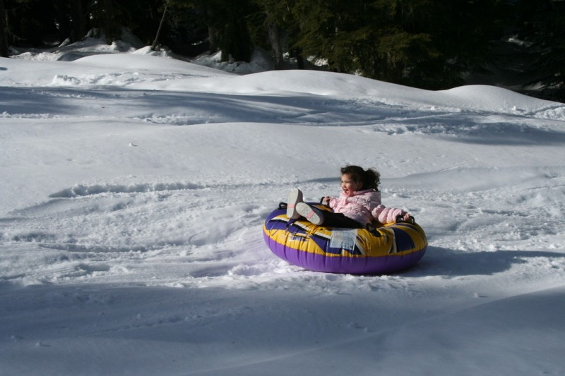 Allie Tubing Down the Hill By Herself