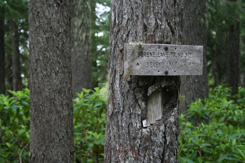 Serene Lake trail sign