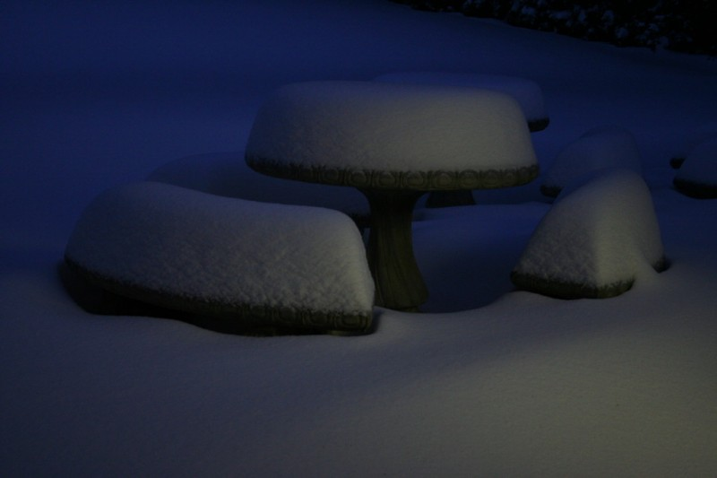 Snow-Covered Cement Patio Tables and Benches