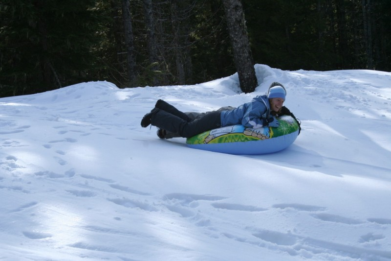 Jenn and Anne Tubing Down Together