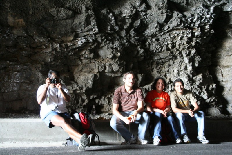 Sam, Josh, Amy and Sameh at Our Lunch Spot In The Tunnel