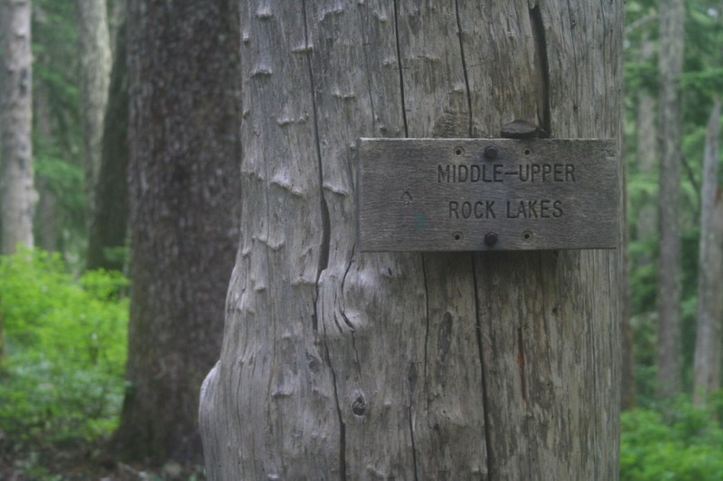 Trail Sign: Middle and Upper Rock Lakes
