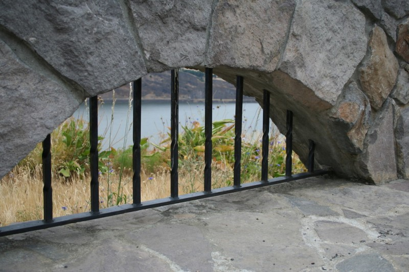 Looking Through the Arched and Barred Hole in the Viewpoint Wall