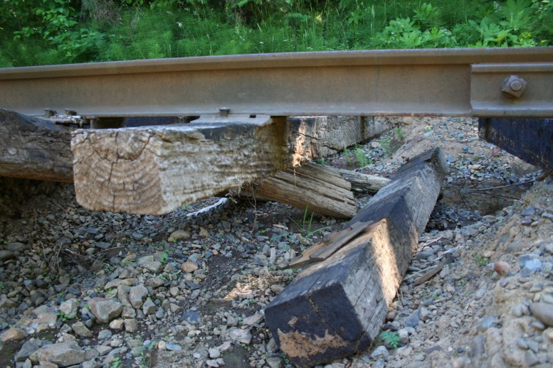 Closer view of railroad ties dangling from the track