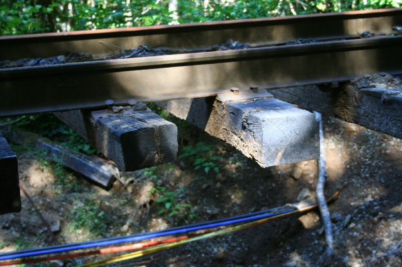 Close up view of ties suspended in the air by track crossing the