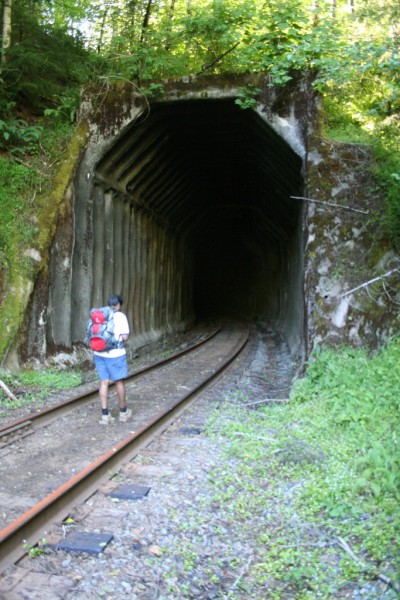 Sam entering the tunnel