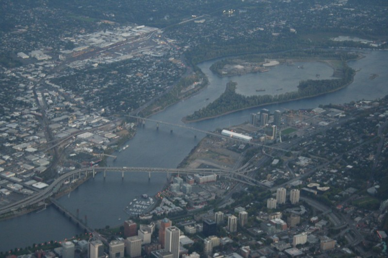 Ross Island and Downtown Portland