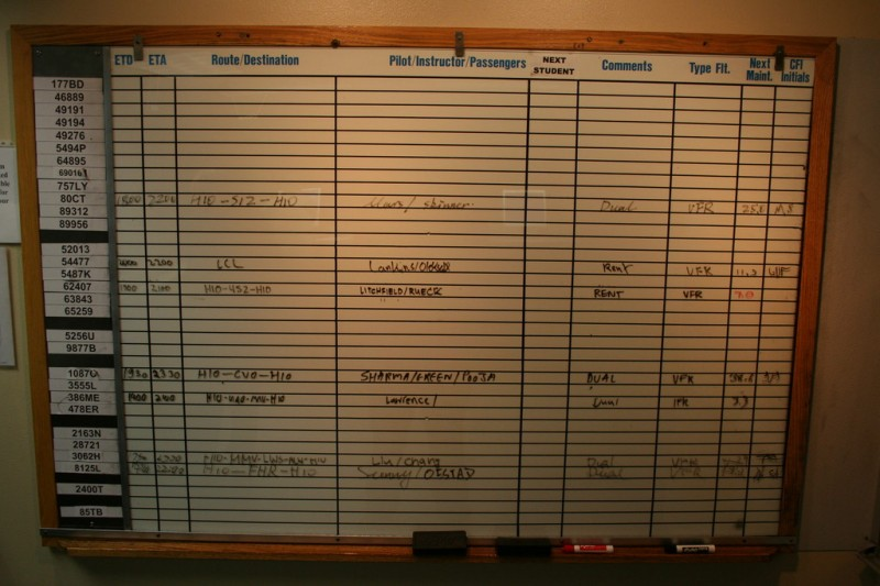 The Rental Schedule Board in The Hillsboro Aviation Office