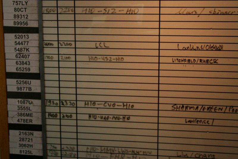 Close Up of the Schedule Board with Our Names
