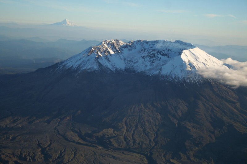 Mt. St. Helens with Mt. Hood in the Background