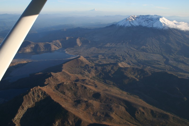Mt. St. Helens and Spirit Lake with Mt. Hood in the Background