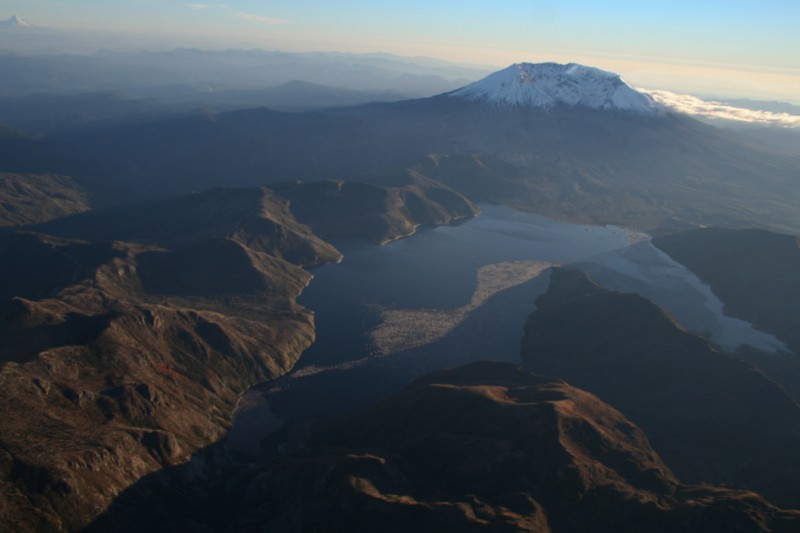 Spirit Lake and Mt. St. Helens with Mt. Hood in the Background