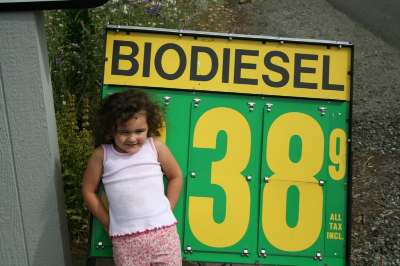 Allie In Front of the Biodiesel Price Sign