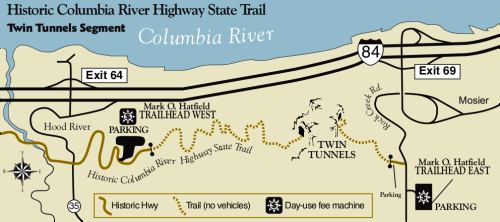 Map of the Mosier Twin Tunnels Section of the Historic Columbia River Highway State Trail