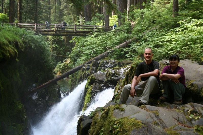 Kanako and David at the top of Sol Duc Falls