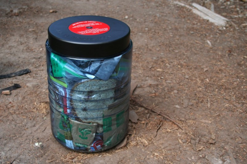 Bear canister packed with food