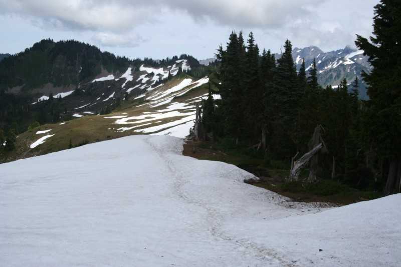 Snowfield on the High Divide Trail with foot tracks leading off in the distance