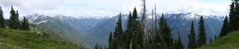 Panoramic view of the Bailey Range and Mt Olympus behind some clouds