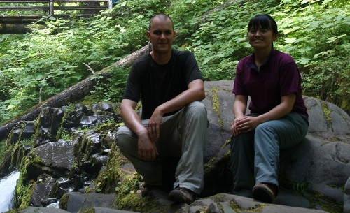 David and Kanako above Sol Duc Falls