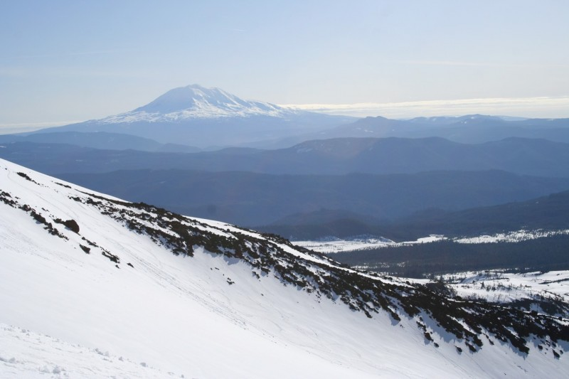 mount adams in the background with the slope of st helens in the foreground