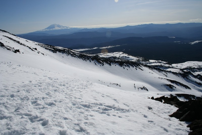 slope of mt st helens with mt adams in the distance