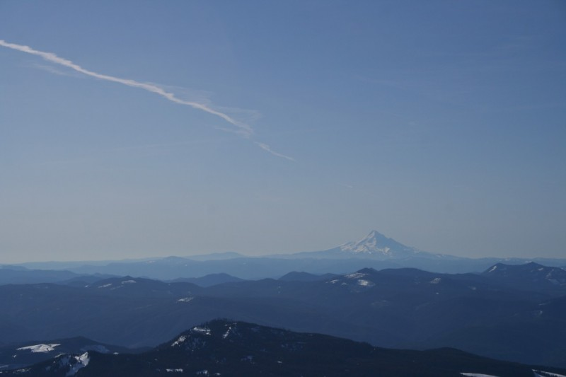 mostly sky with mt hood on the horizon