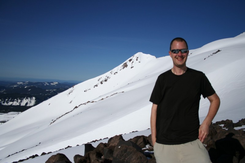 david and the snowy slope of mt st helens