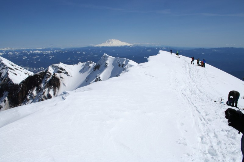 the snowy rim of mt st helens looking generally east along the rim with mt adams in the background