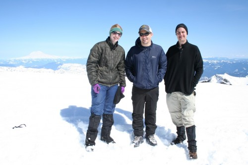from left to right tasha, troy and david at the top of mt st helens